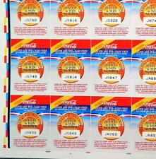 *RARE* UNCUT SHEET OF COCA COLA~MEDALS & MILLIONS~FEB 1992~OLYMPIC GAME PIECES
