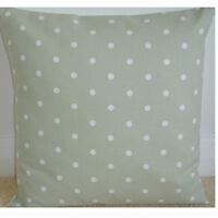 "NEW 18"" Cushion Cover Sage Green White Polka Dots Spots Shabby Chic 18x18"