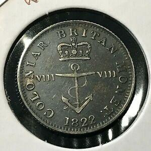 1822 BRITISH WEST INDIES SILVER 1/8 ANCHOR DOLLAR
