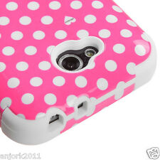 LG OPTIMUS L90 D415 TMOBILE METRO HYBRID T ARMOR CASE SKIN COVER PINK WHITE DOTS