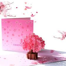 Cherry Blossom Pop Up Greeting  3D Card Gift Birthday Anniversary Wedding Pink