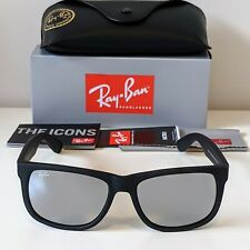 Ray-Ban Justin Classic Sunglasses - Matte Black Grey Mirror - 4165 622/6G 54-16
