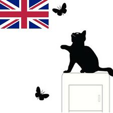 Room Window Wall Decorating Switch Vinyl Decal Sticker Decor Cat and Butterfly