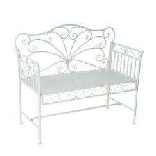 Outsunny Panchina Biposto da Giardino Stile Romantico 109.5 x 51 x 95.5cm Bianco
