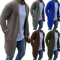 Men Winter Knit Sweater Long Cardigan Trench Coat Casual Knitwear Jacket Outwear