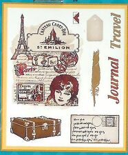 PSX Clear Rubber Set 8 Stamps TRAVEL JOURNAL COLLAGE PARIS POSTCARD TAG QUILL