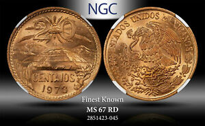 1973-Mo MEXICO 20 CENTAVOS NGC MS67 RD #C FINEST KNOWN