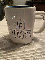 Rae Dunn Mug Teal Inside Large Letter 🦋 #1 TEACHER 🦋 Ceramic IVORY  TEAL