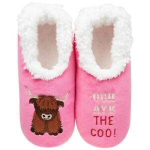 Snoozies  cosy feet coverings Style pairables Highland Coo   Colour Pink New