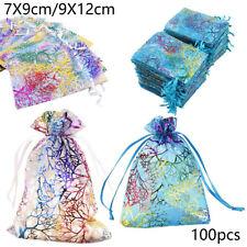 100pcs / Set Organza Cadeau Sacs Bijouterie Pochettes Mariage Fête Sac Portable