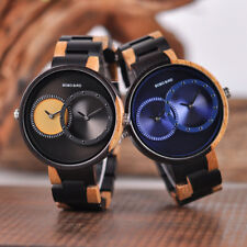 WOODEN WATCH BOBO BIRD LUXURY TWO TIME ZONE RELOGIO FEMININO WOOD SAAT ERKEK