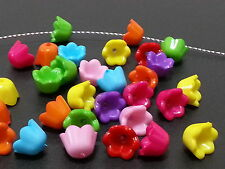 100 TULIP Flowers cap Multicolor acrylic plastic loose beads