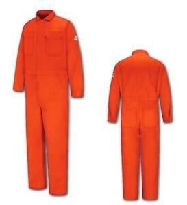 Bulwark Flame Resistant Clothes FR Coverall 100% Cotton Orange Work Uniform CC2B
