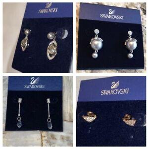 SWAROVSKI Genuine SWAN LOGO PIERCED EARRINGS Crystal Silver Authentic: U PICK