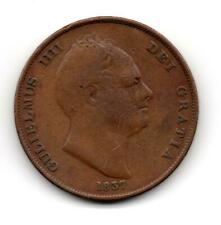 More details for 1837 william iv / 4th penny copper spink 3845 low mintage, 174,720 fine minus