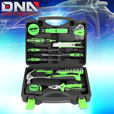 46Pcs Household Hand Tool Kit Screwdriver Sockets Hammer Test Pen Toolbox Green