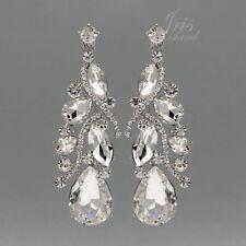 Rhodium Plated Clear Crystal Rhinestone Wedding Drop Dangle Earrings 00124 Prom