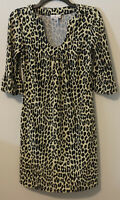Jude Connally Leopard Print U Neck Megan Sheath Dress Sz XS Animal Cheetah Print