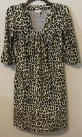 Jude Connally Leopard Print U Neck Megan Sheath Dress Sz XS Animal Cheetah Print