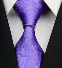 Purple Floral Spiral Pattern Silk Classic Woven Horse Show Tie *New*