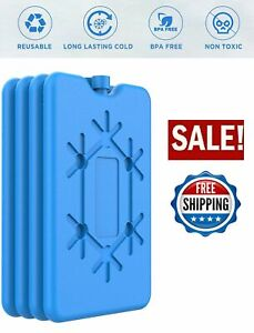 Ice Packs Set Of 4 Cool Pack For Lunch Box Freezer Bags & Coolers Slim Reusable