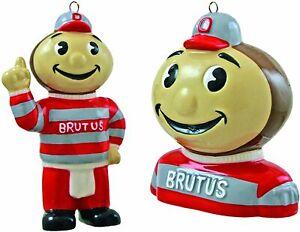 NCAA Ohio State Buckeyes 2-Piece Ceramic Mascot Bust & Figurine Ornament Set