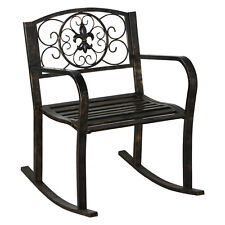 Scrolled Metal Rocking Chair Seat Furniture Patio Porch Bronze Rocker Outdoor