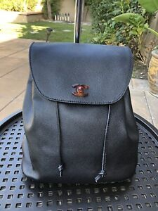 Chanel Classic CC Logo Black Leather Backpack