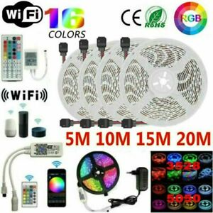 5/10/15/20M RGB LED Strip Lights Kit Smart WiFi Phone Control Alexa Google Home