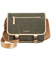 💯 Calvin Klein Tandy Logo Messenger Bag Women's Crossbody Moss Gold Green $140