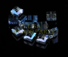 10pcs 10X10mm Square Faceted Crystal Glass Loose Spacer Beads Blue