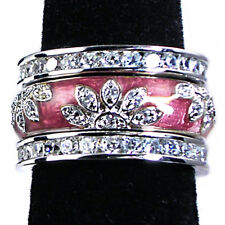 3-RING_#02_ROSE PINK ENAMEL FLORAL CZ BAND RINGS_SZ-10__925 Sterling Silver
