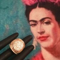 Vintage Statement Runway Jewellery Large Gold Cocktail Dress Ring Jewelry sz P