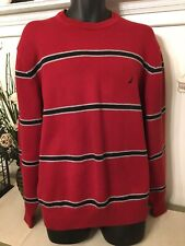 NAUTICA Cotton Crew Long Sleeve Pullover Sweater, Red Blue Gray Stripe LARGE