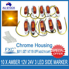 10X 12V SUPERFLUX AMBER LED MARKER/CLEARANCE LIGHT - Boat/Trailer/Truck/Caravan