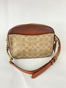 NEW Coach 31208 Camera Rust Tan Signature Canvas Crossbody Handbag NWOT