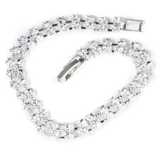Women's Wedding Bridal 2-Row Clear Rhinestone Bangle Bracelet LW