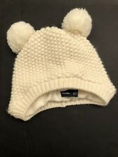BABY GAP Cream Knitted Ivory Frost Pompom Bear Hat L (12-18 mos.)