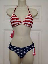 New American Flag Patriotic Red White & Blue Bikini Size Small Reversible