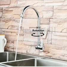 360° Rotating Swivel Basin Sink Faucet Wall Mount Single Handle Cold Tap Kitchen