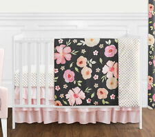 Black Pink Shabby Chic Watercolor Floral Baby Girl Bumperless Crib Bedding Set