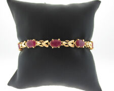 "Natural 5.00cttw Ruby Solid 18k Yellow Gold  6.75"" Bracelet"