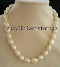 "freshwater pearl white baroque 12-14mm necklace 17"" nature wholesale beads fashi"