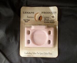 ~ vintage 1950s(?) PINK ceramic Bathroom Toothbrush/Tumbler HOLDER ~ LENAPE