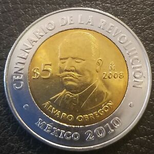 5 pesos Mexico 2010 km# 895 UNC Alvaro Obregon
