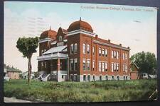 CANADA CHATHAM ONTARIO 1911 view CANADIAN BUSINESS COLLEGE with grassy yard
