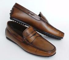 TOD'S Men's City Gommino Brown Leather Moccasin Penny Loafer Shoe 6.5 NIB