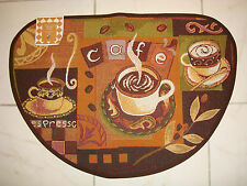 "Cafe Coffee Mocha Java  Espresso Tapestry Kitchen Slice Rug Mat! 19""x27"" NEW!!"