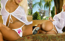 SEXY PINK BARBIE GIRL HEAD MICRO PARTY THONGS CROTCHLESS WHITE STRING TANGAS SEX