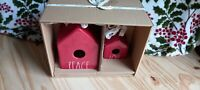 Rae Dunn Red PEACE & LOVE Square Birdhouse